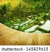 Wooden platform beside terrace rice fields in morning sunrise, Ubud, Bali, Indonesia - stock photo