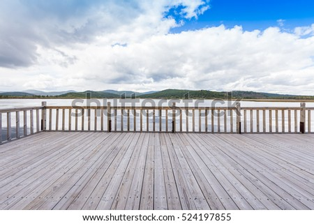 wooden platform in Arxan national park, Inner mongolia, China