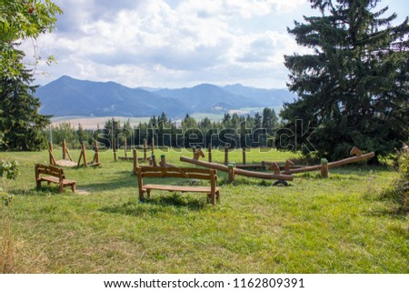 Wooden Playground Built in the Heart of Nature, on Top of Hill with Trees Around. Playground is Located on Top of Woodland Hill Called Nicovo in Liptovsky Mikulas, Slovakia