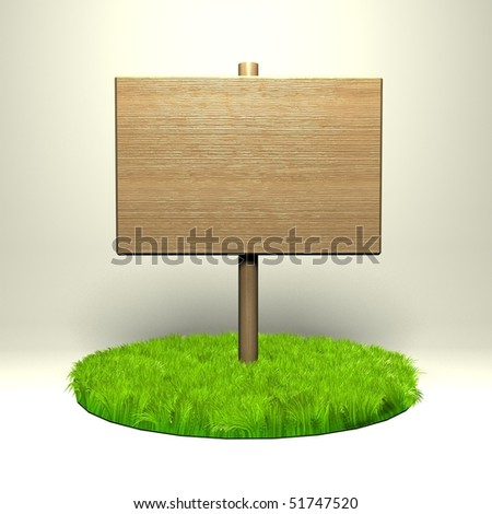 Wooden pointer on the grass - stock photo