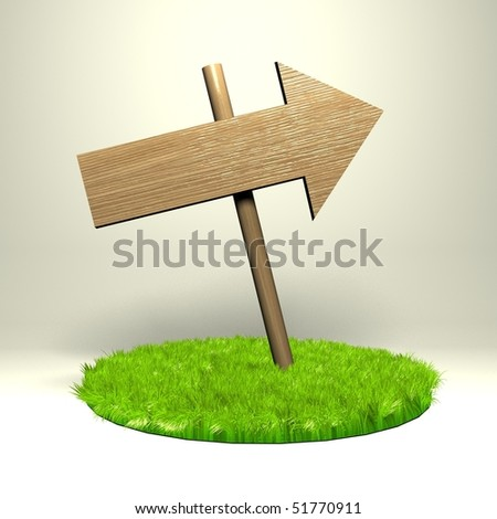 Wooden pointer on the grass