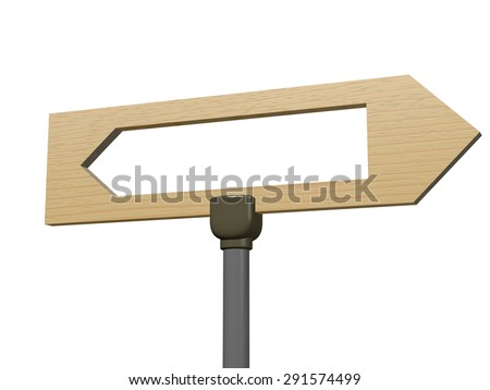 Wooden pointer showing to the right, with left arrow shape carved open inside it. Rendered 3d design, isolated on white.