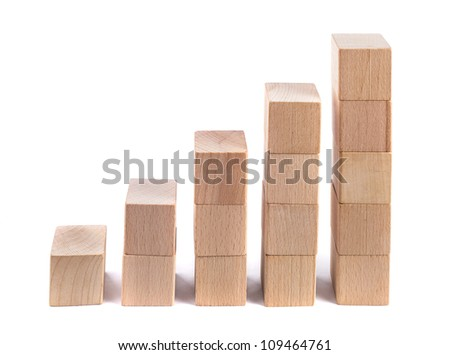 Wooden poles as a business concept, achieve goals, recovery - stock photo