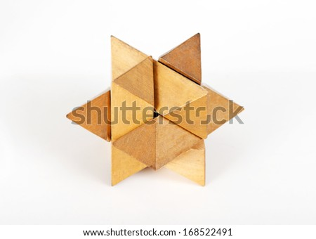 Wooden Polyhedron toy, Geometrical figure - stock photo