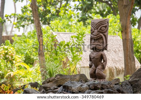 Wooden Polynesian Tiki Carvings - stock photo