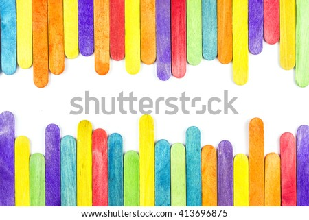 Wooden Popsicle Sticks, Colorful Ice Cream Sticks.