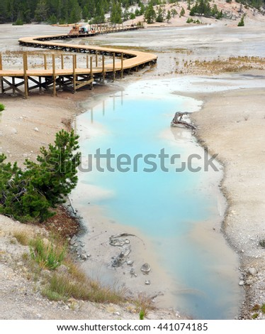 Wooden Porcelain Basin Trail runs besides Palette Springs, in the Norris Geyser Basin, in Yellowstone National Park is under construction or repairs. - stock photo