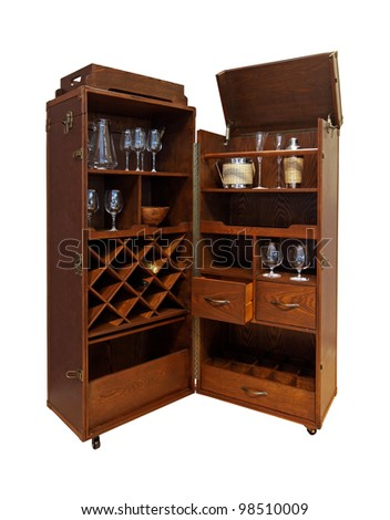 Wooden portable home bar with wheels isolated with clipping path included. Home Bar Stock Images  Royalty Free Images   Vectors   Shutterstock