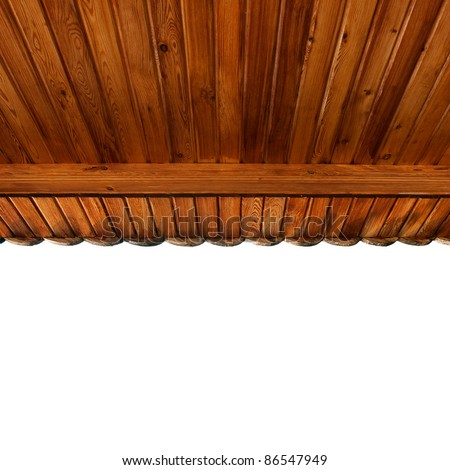 wooden portico's ceiling made of softwood matchboards - stock photo
