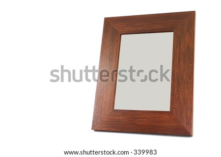 wooden portrait over white