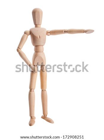 Wooden pose puppet mannequin isolated on white background - stock photo