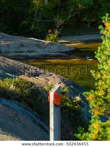 Wooden post with an orange blaze on a coastal trail