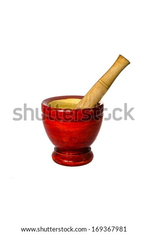 Wooden pounder and pestle - stock photo