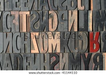 Wooden Printing Blocks - stock photo