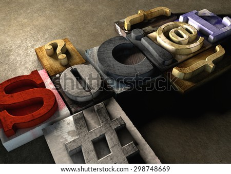 Wooden printing blocks form word 'Social'. Concept for social media and how far mass communication has come since the day of the printing press. - stock photo