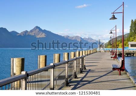 Wooden promenade at Queenstown, New Zealand - stock photo