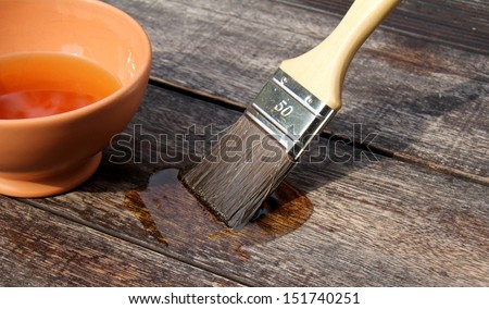 wooden protective painting - stock photo