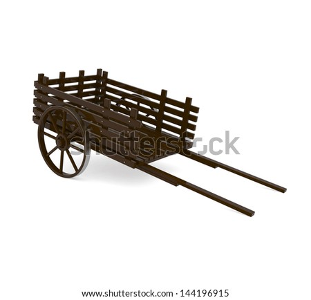 Wooden Pull Cart isolated on white - 3d illustration - stock photo