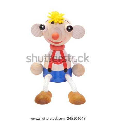 Wooden puppet cute boy. Handmade toy for children, isolated on the white background. - stock photo
