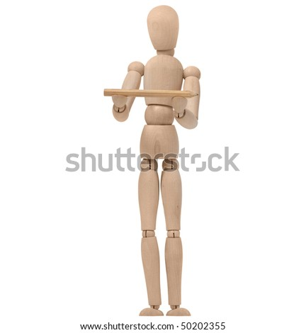 wooden puppet holding pencil - stock photo