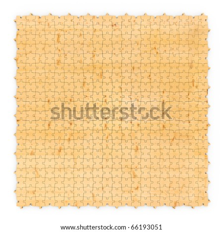 Wooden puzzle abstract yellow background - stock photo