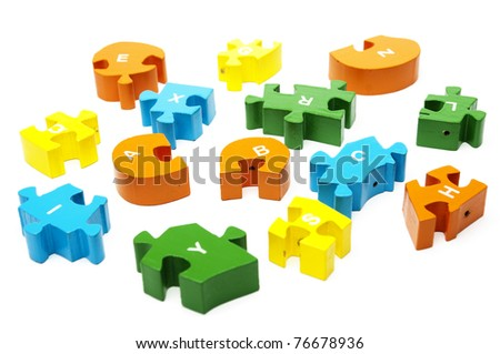 wooden puzzle blocks with numbers copy - stock photo