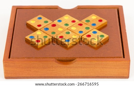 wooden puzzle, isolated image