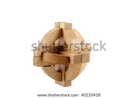 Wooden puzzle on a white background - stock photo