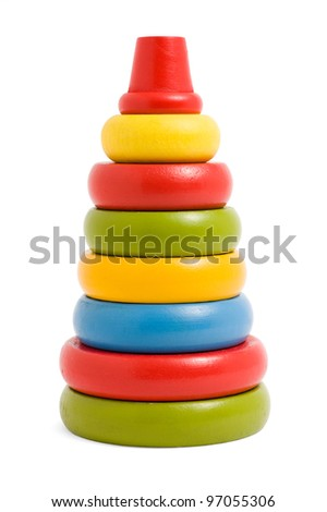 wooden pyramid children's toy isolated on white background - stock photo