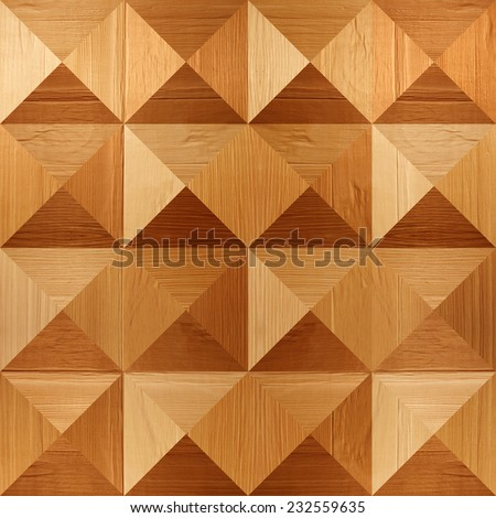 Wooden pyramids stacked for seamless background, coffered paneling, veneer alder - stock photo