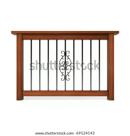 Wooden railing with metal pattern - stock photo