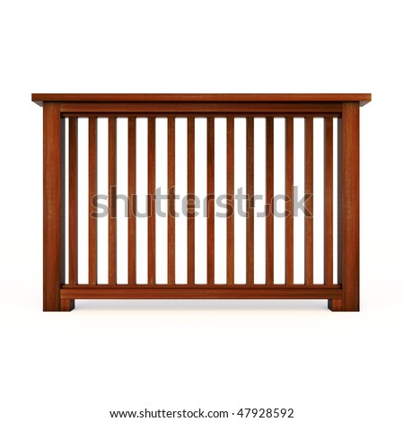 Wooden railing with wooden balusters - stock photo