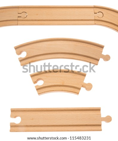 Wooden railroad track, isolated on background