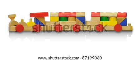 Wooden railway toys isolated on white background with clipping path - stock photo