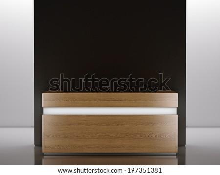 Wooden reception desk - stock photo