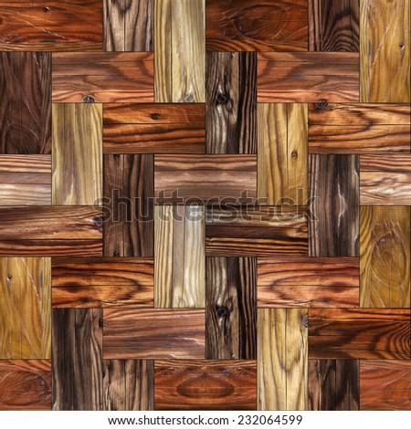 Wooden rectangular parquet stacked for seamless background. cherry veneer - stock photo