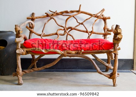wooden red chair - stock photo