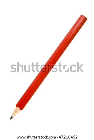 Wooden red pencil isolated on white background