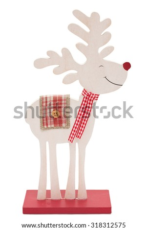 Wooden reindeer with red nose isolated on white background - stock photo