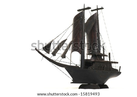 Wooden replica of vintage sailboat
