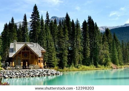 Wooden retreat on Emerald lake, Yoho national park, Canadian Rockies - stock photo