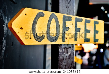 Wooden Retro Coffee Shop Sign, Selective Focus And Close Up - stock photo