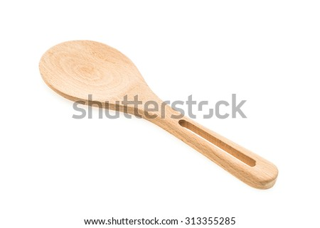 Wooden rice spoon isolated on white background