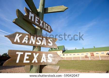 Wooden Road signs, wild west concept