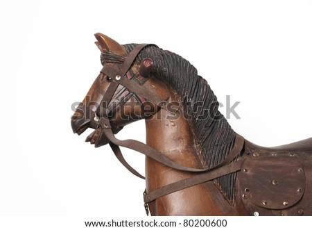 wooden rock horse head - stock photo