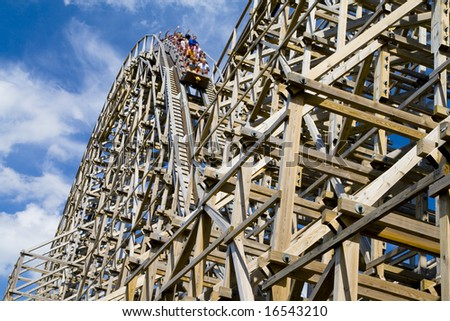 Wooden Roller Coaster - stock photo