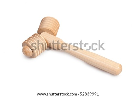 Wooden roller massager on white background
