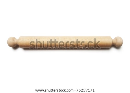 Wooden rolling pin - stock photo