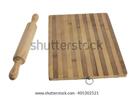 wooden rolling pin and cutting board isolated on white background - stock photo