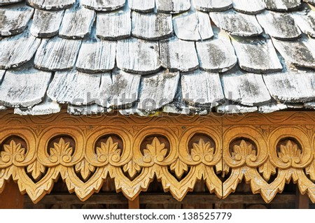 Wooden roof tile in Thailand - stock photo